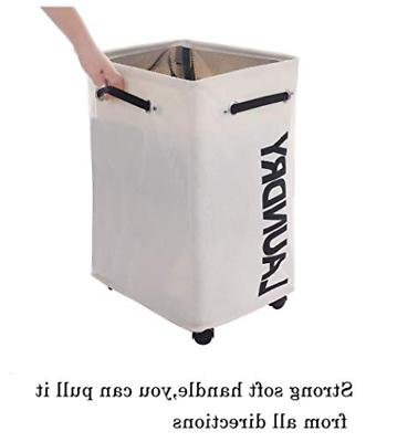 AcmeSoy Rolling Laundry with Wheels - Foldable Clothes