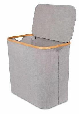bamboo and canvas hamper single laundry basket