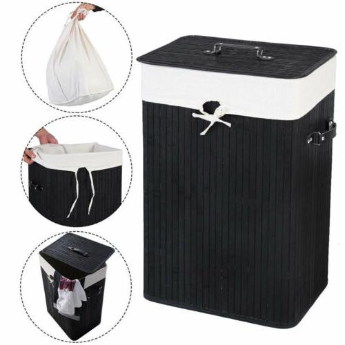 rectangle bamboo laundry hamper washing basket cloth