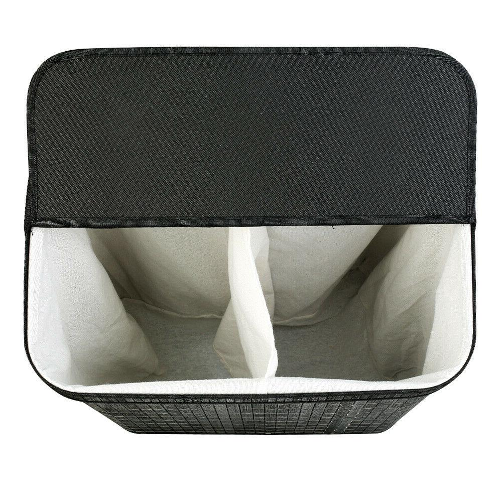 Black Cloth Hamper with Lid Section