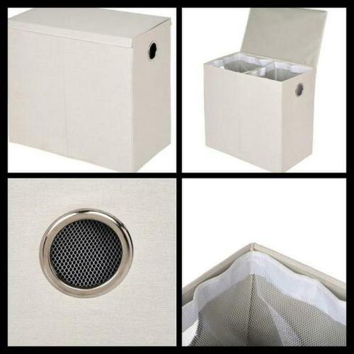Collapsible Dual Basket Laundry Hamper Sorter with Magnetic
