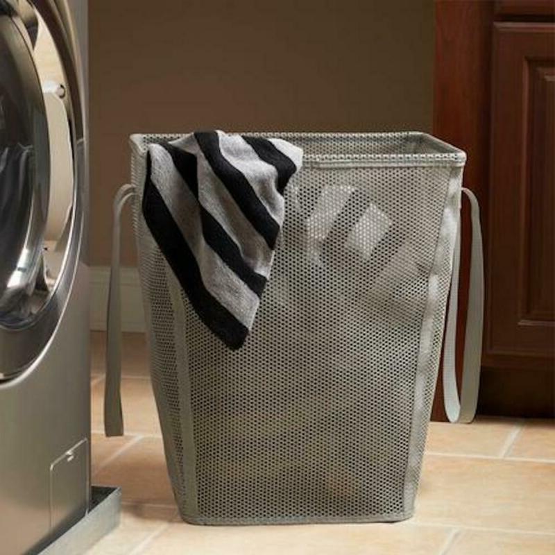 collapsible plastic mesh rectangle laundry hamper clothes
