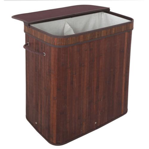 Laundry Hamper with 2 Section Clothes Basket