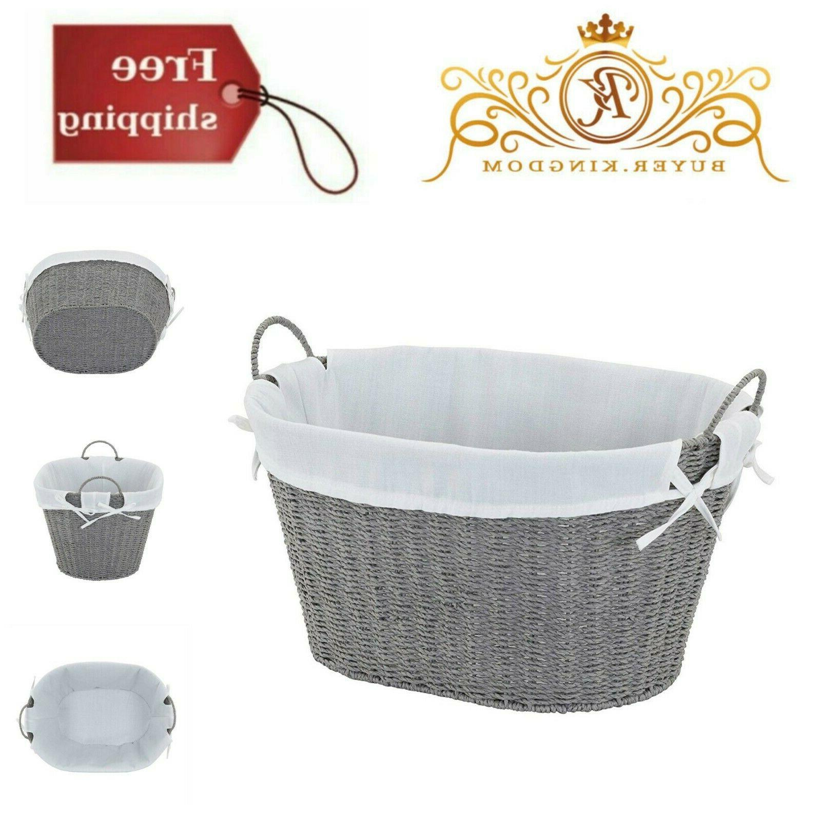 Decorative Wicker Laundry Basket Gray Paper Rope Lends Metal