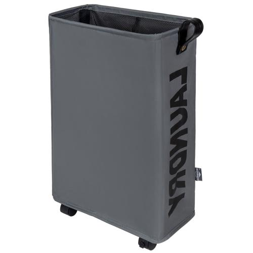 DOKEHOM DKA0211DGM Laundry Basket with Leather Handle and Wh
