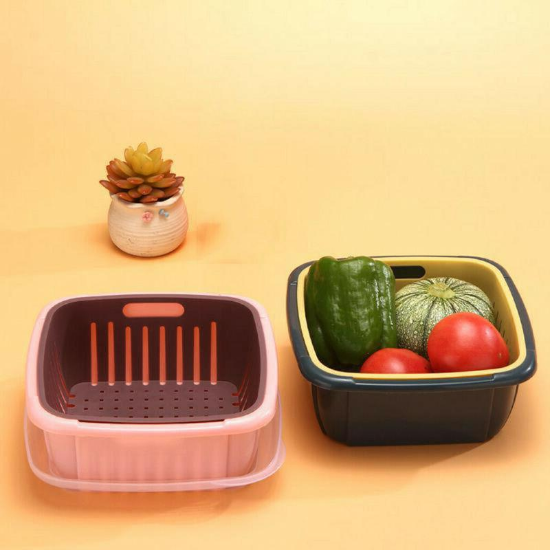 Double Layer Vegetable Fruit Washing Strainer