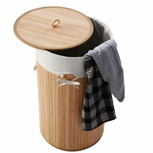 Folding Bamboo Laundry Double Hamper Clothes w/