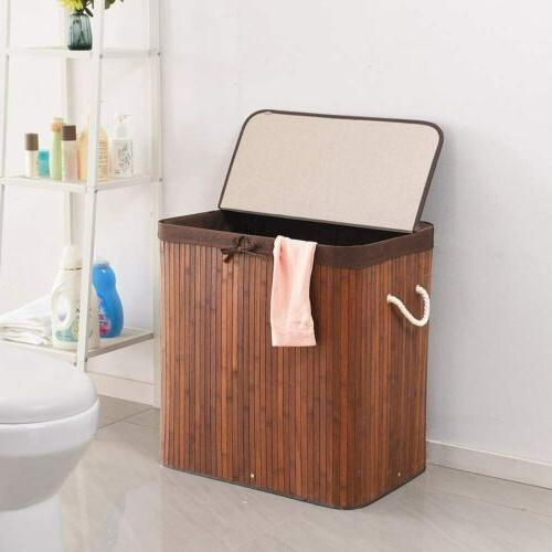 Folding Bamboo with Lid Removable Dirty Clothes