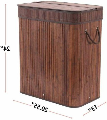 Folding Bamboo Laundry Basket with Dirty
