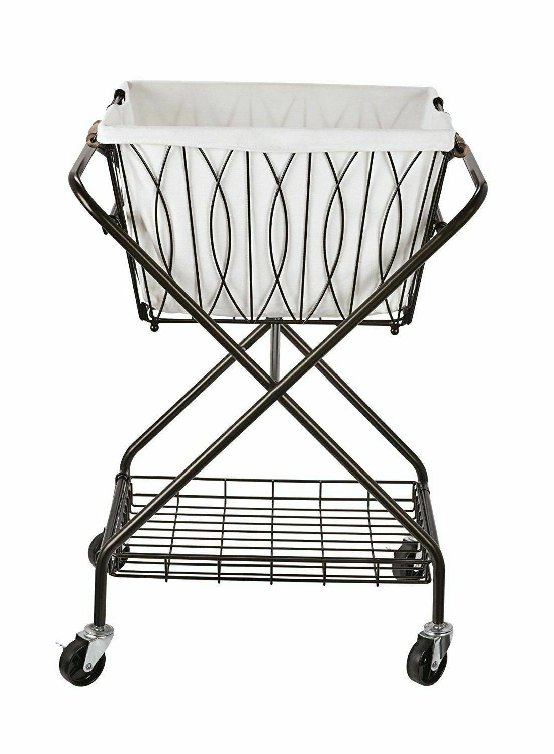 Folding Metal Laundry Cart Wheels Removable Basket Storage S