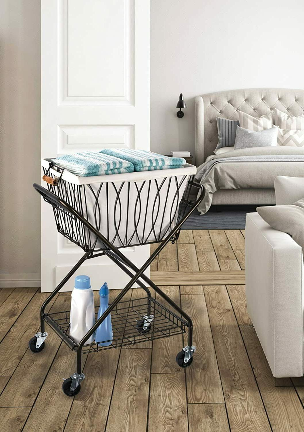 Folding Cart With Wheels Removable Basket Storage