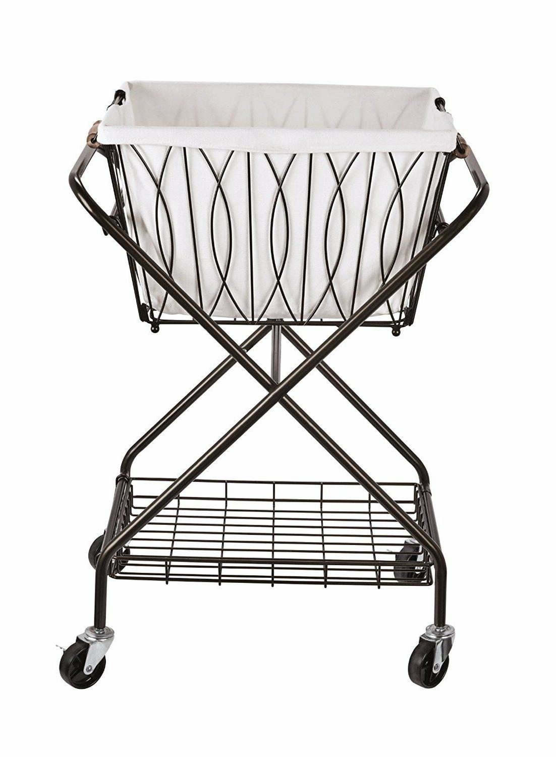 folding metal laundry cart with wheels removable