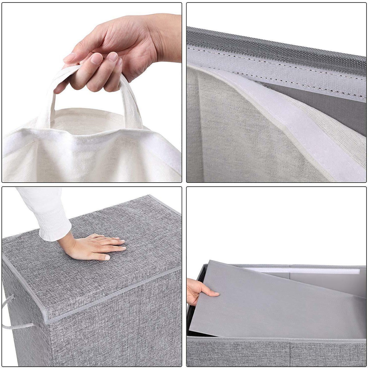 Gray Laundry Hamper with Lid Sections Lid Clothes