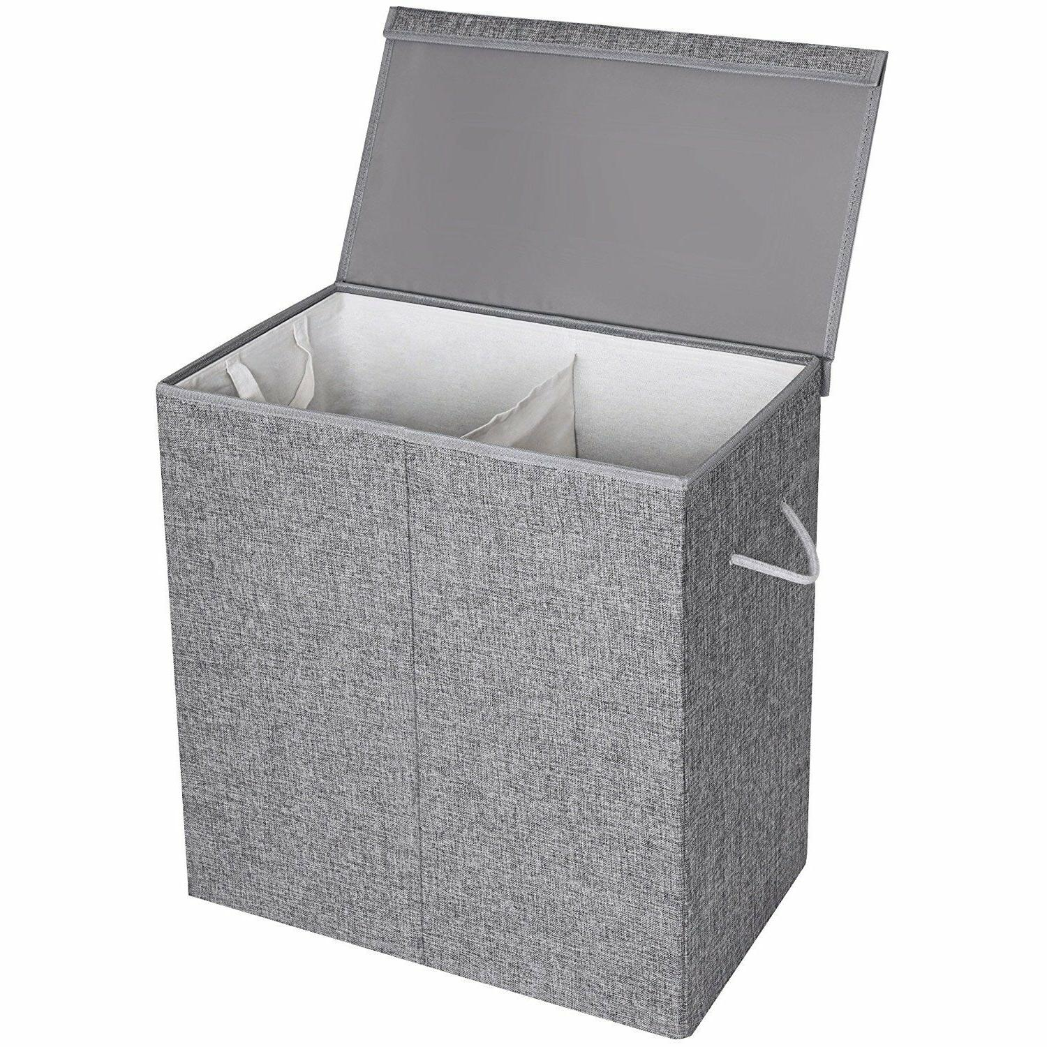 Gray Hamper with Lid 2 Sections Lid Clothes