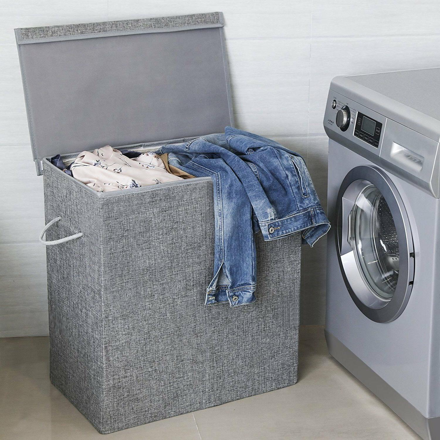 gray laundry hamper with lid 2 sections