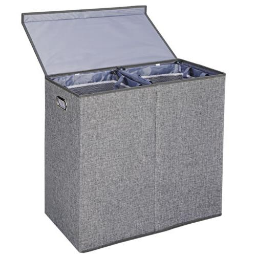 Grey Double Laundry Hamper Clothes Lid and