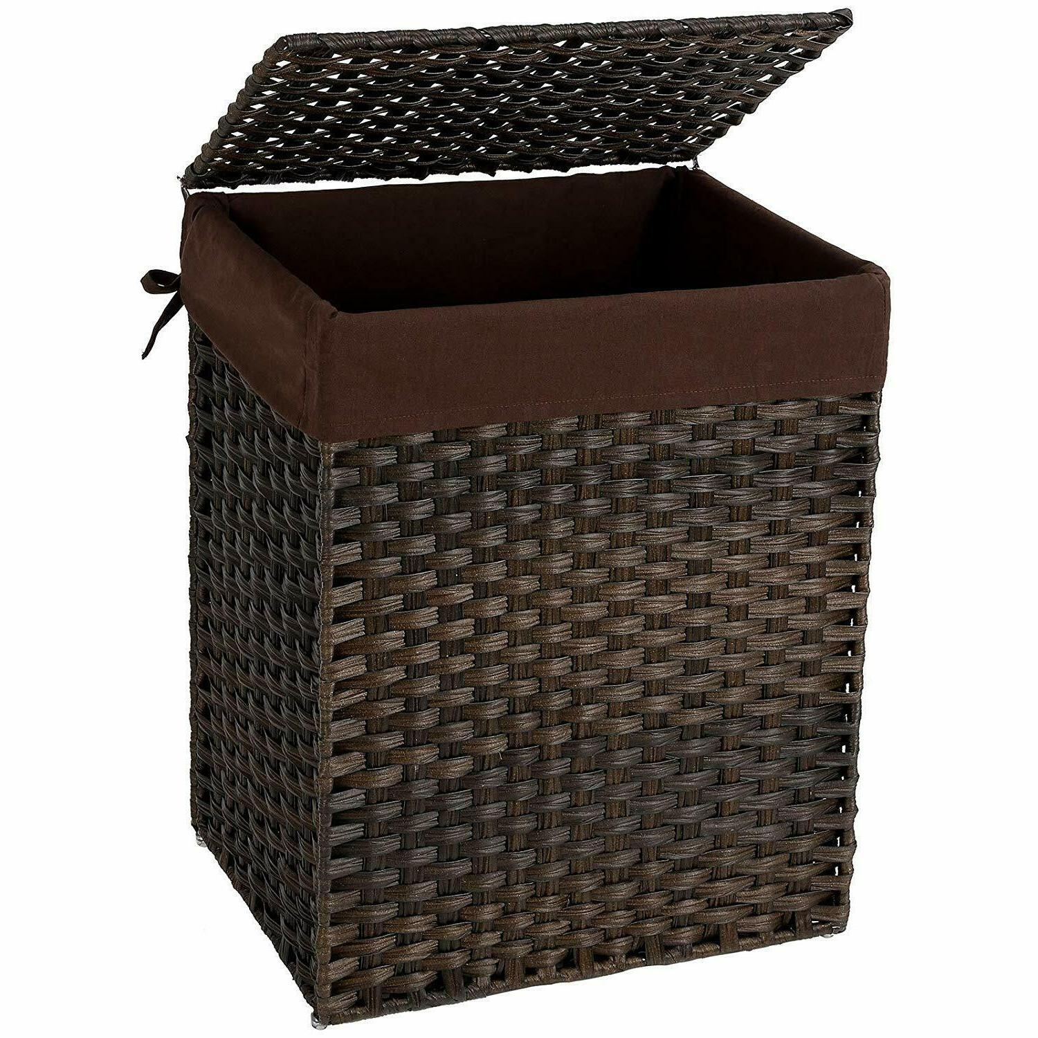 handwoven laundry basket synthetic rattan clothes hamper