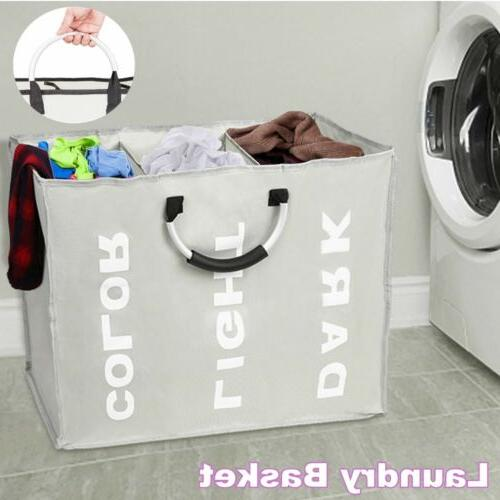 laundry basket bin 3 sections large clothes