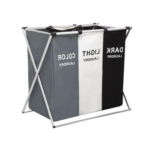 laundry basket bin 3 sections large dirty