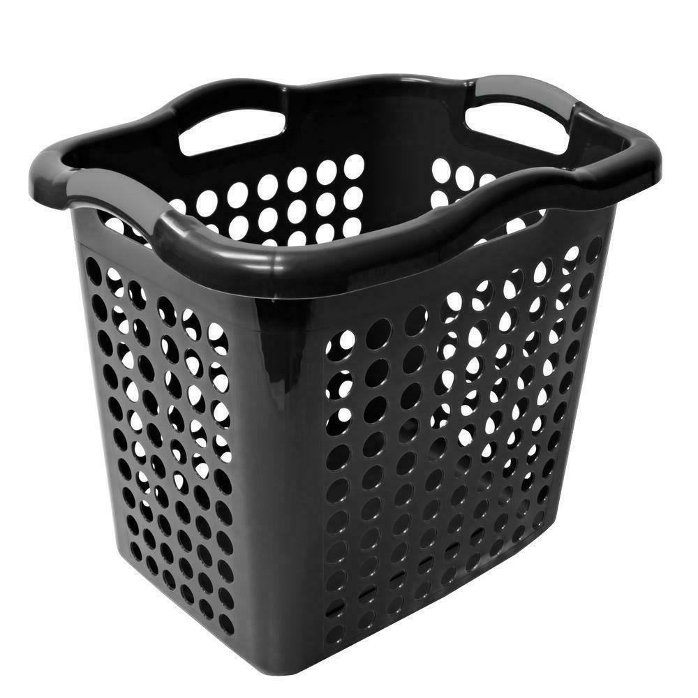 Laundry Basket Hamper Clothes Storage Hybrid Plastic Black H