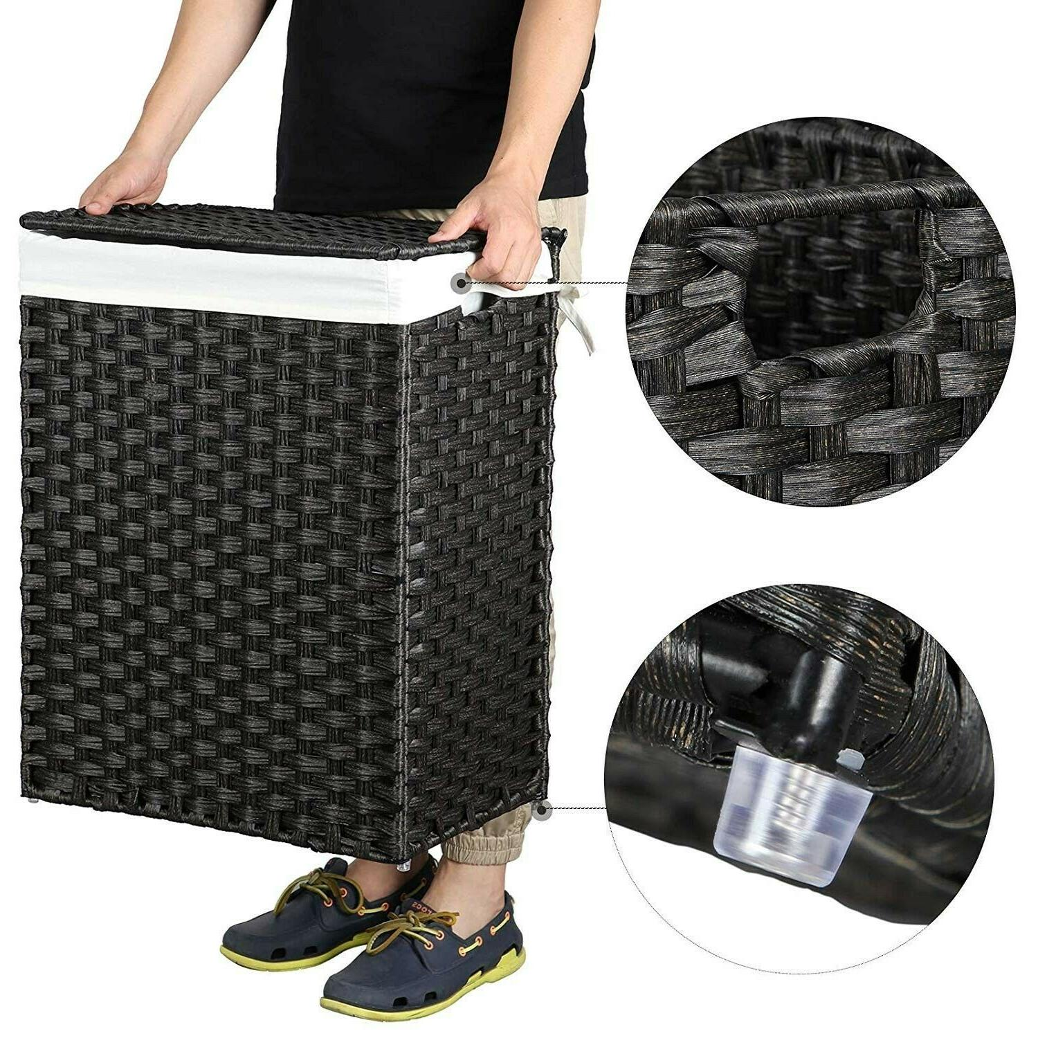 Laundry Basket Foldable Hamper Clothes With Liner