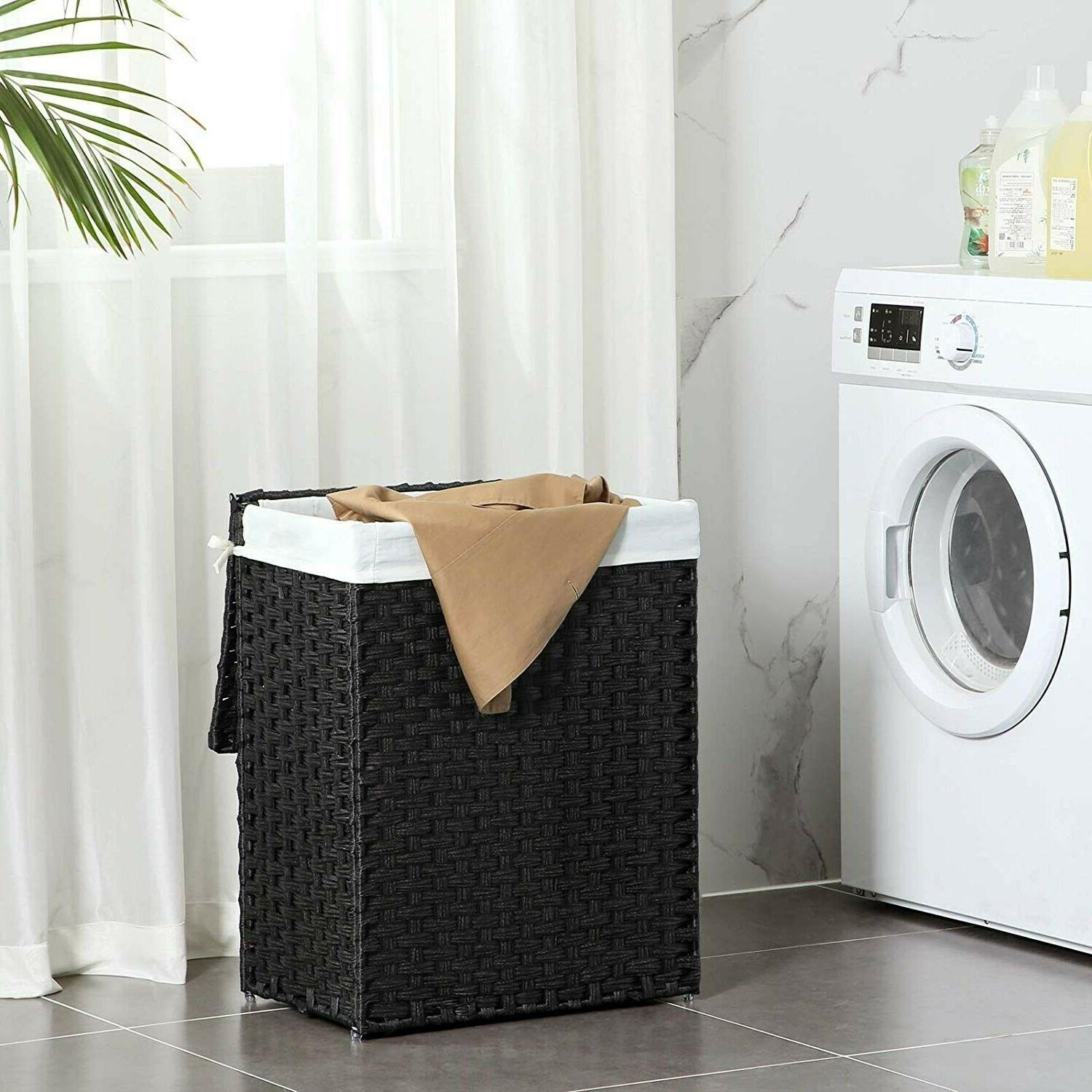 Laundry Basket Hamper Clothes Rattan With