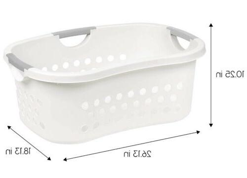 laundry basket hip hold white and gray