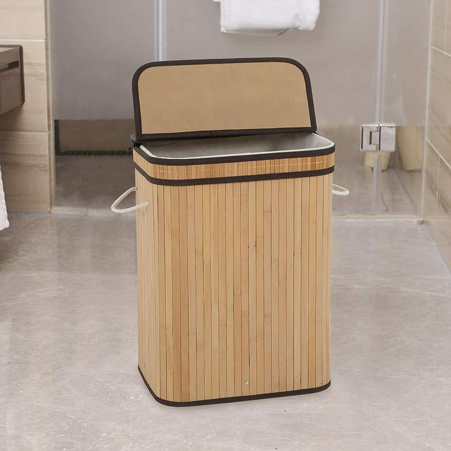 laundry hamper with lid 72l folding bamboo