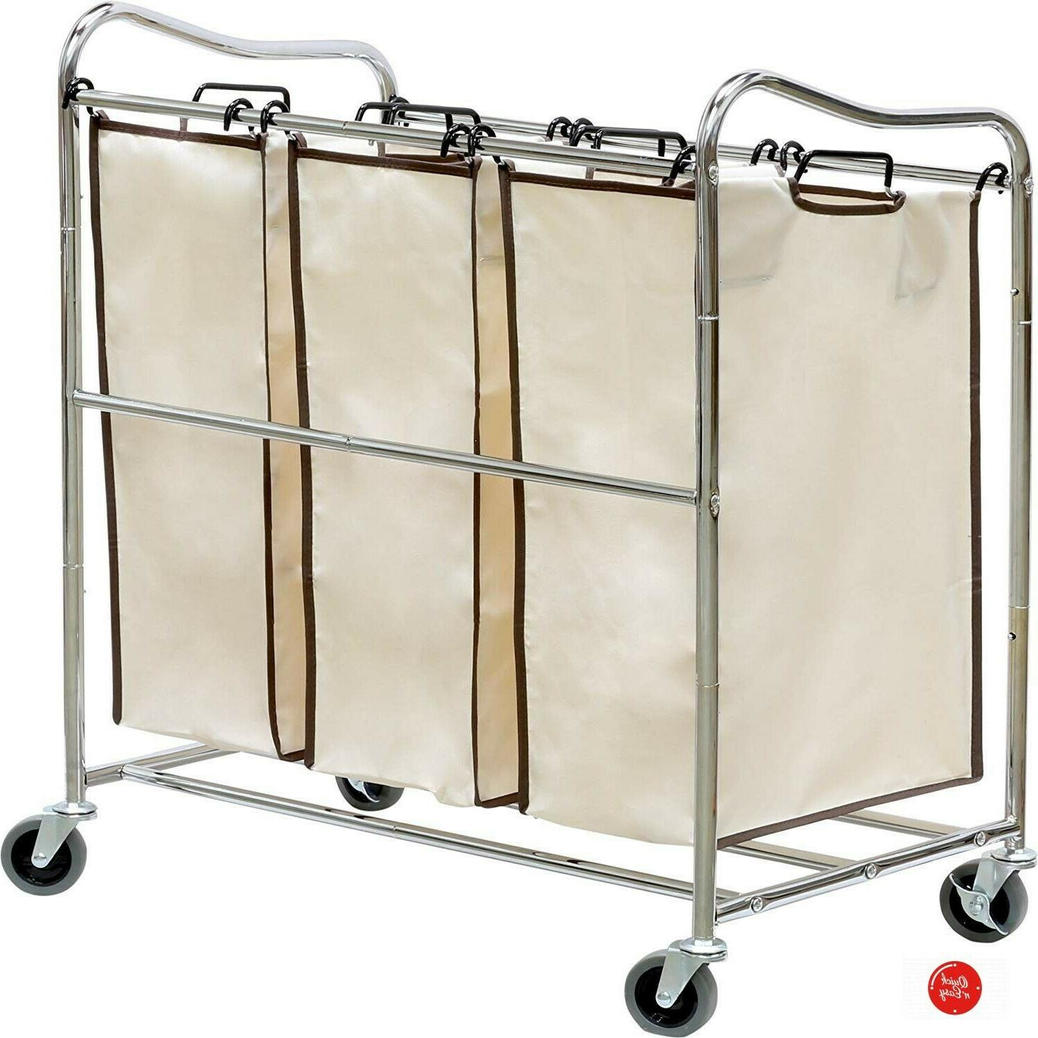 Laundry Hamper With 3 Sorter Compartment Basket Rolling On Large NEW