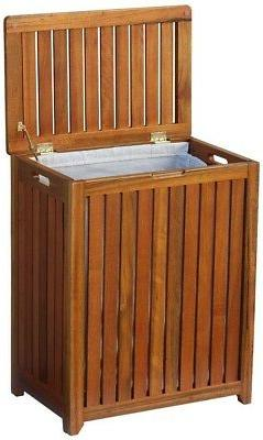 Laundry Hamper With Lid Wood Spa Linen Clothes Basket Bin Ba