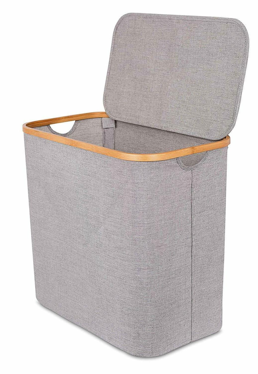 Bamboo & Canvas Hamper - Single Laundry Basket with Lid - Mo