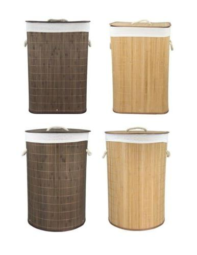 new bamboo foldable laundry basket natural brown