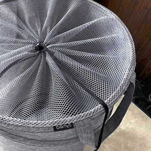 Newest ZYMEO Collapsible Laundry Basket Wheels, Handles and Top