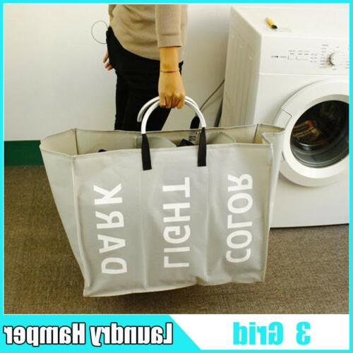 portable 3 sections laundry hamper clothes basket
