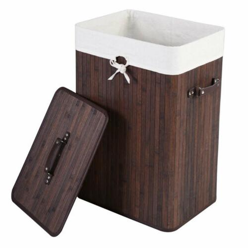 NEW Large Foldable Bamboo Laundry Bin Basket Hamper Linen Cl