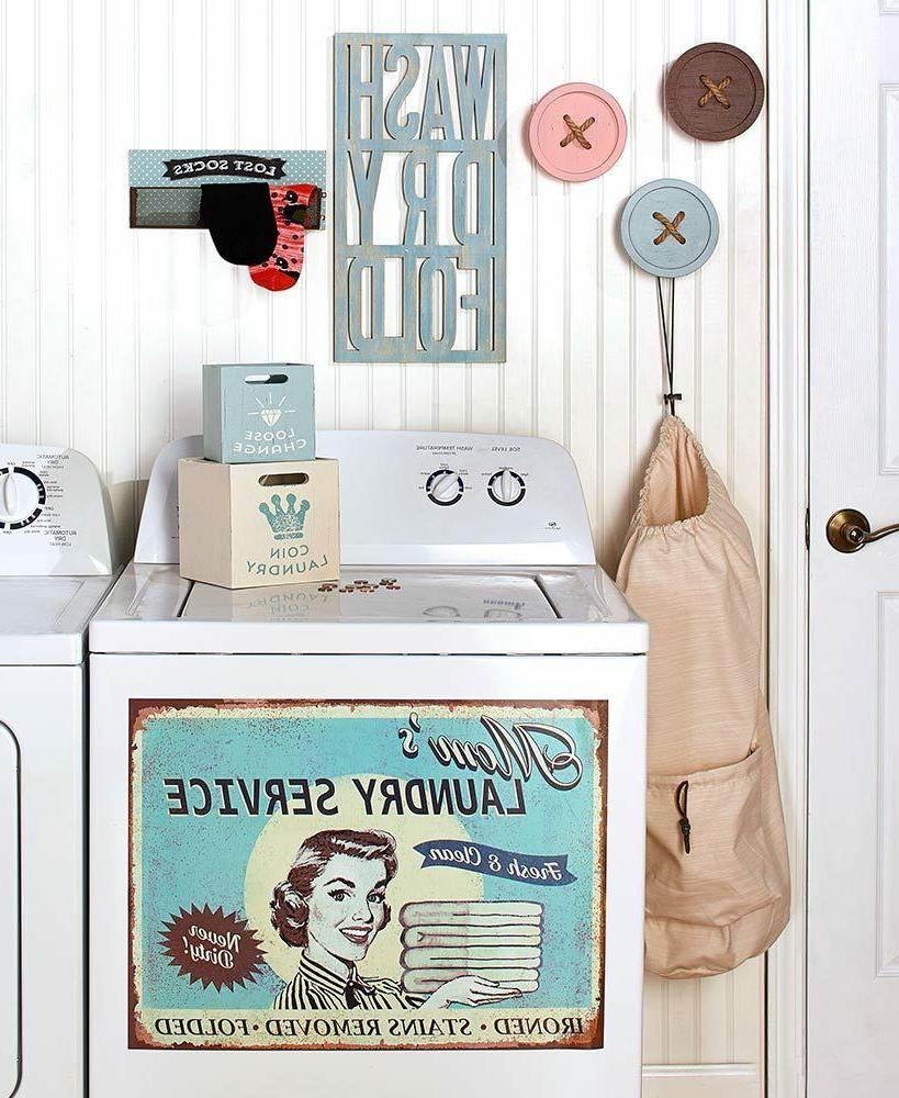 retro vintage inspired laundry room accent decor