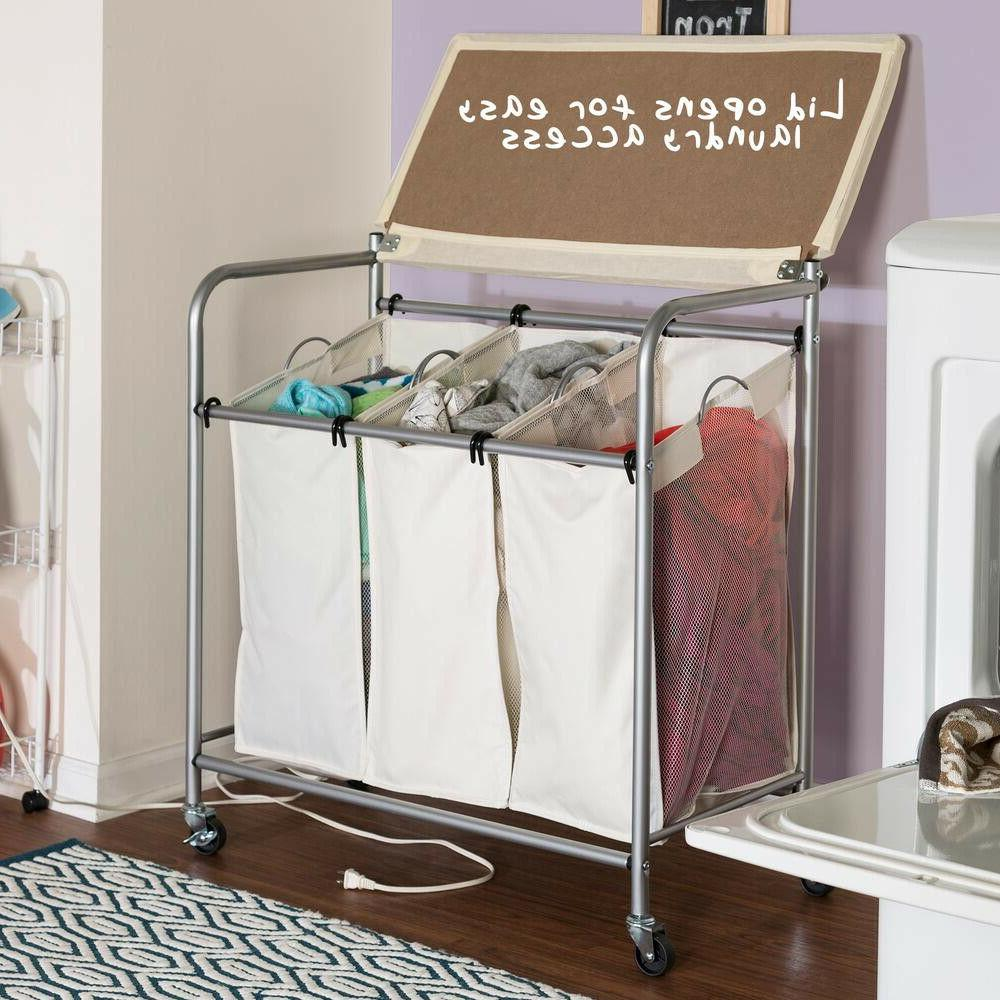 Rolling Laundry Basket Bag with Ironing Mobile