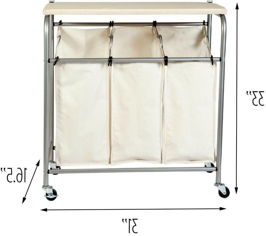 Rolling Laundry Cart 3 Bag with Mobile