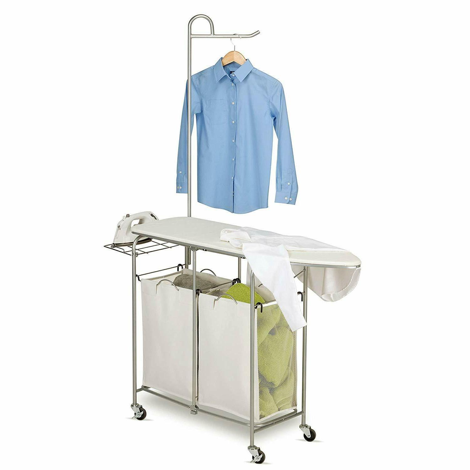 Laundry Sorter Bins Hamper Storage with Ironing Board Clothe