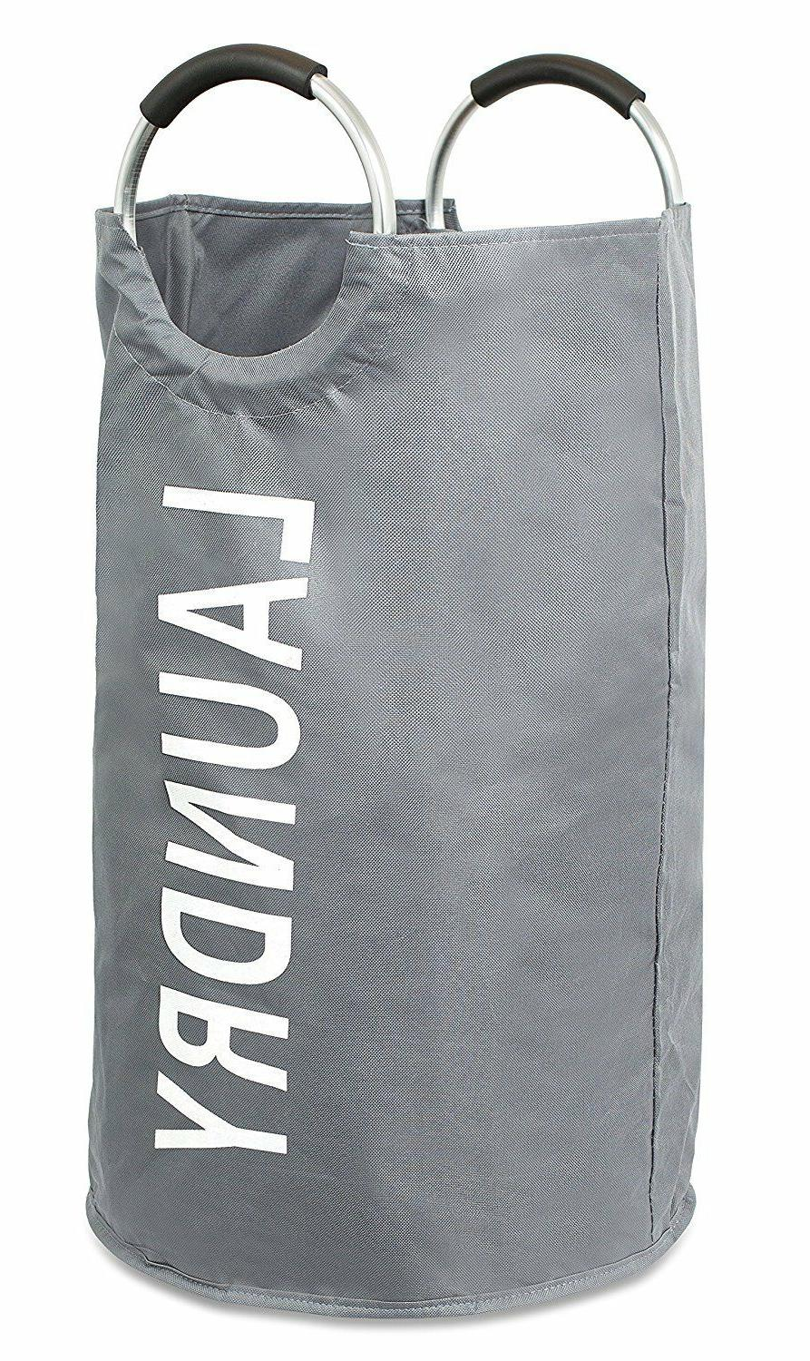Round Oxford Laundry Bag Basket Collapsible Foldable Gray Bi