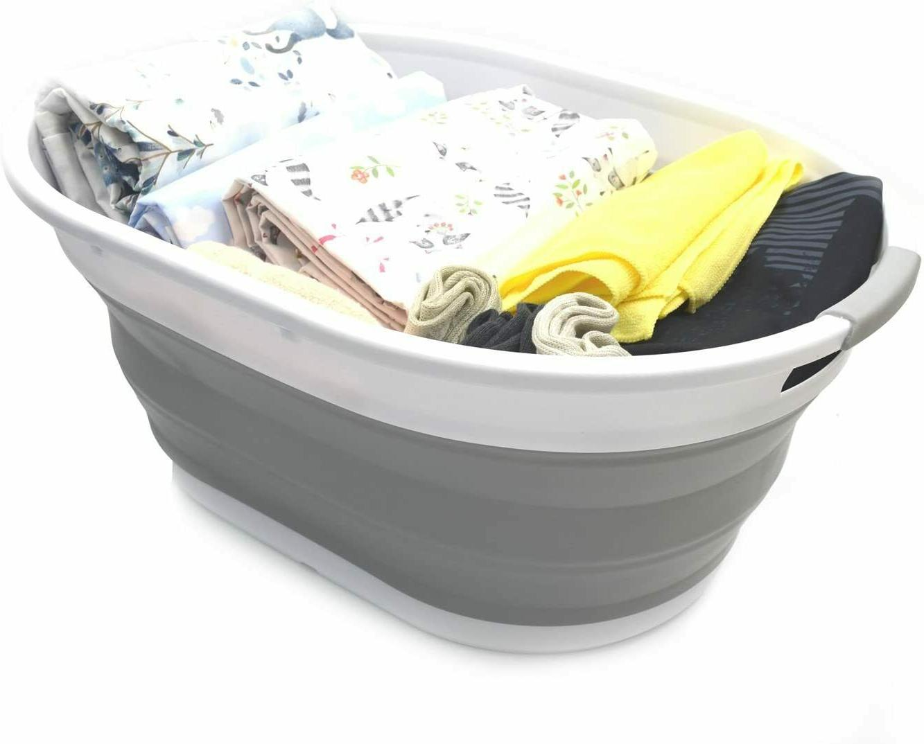 Set of 2-28L Collapsible Plastic Basket Oval