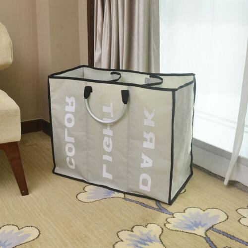 Laundry 3 Sections Large Dirty Clothes Hamper Sorter Storage