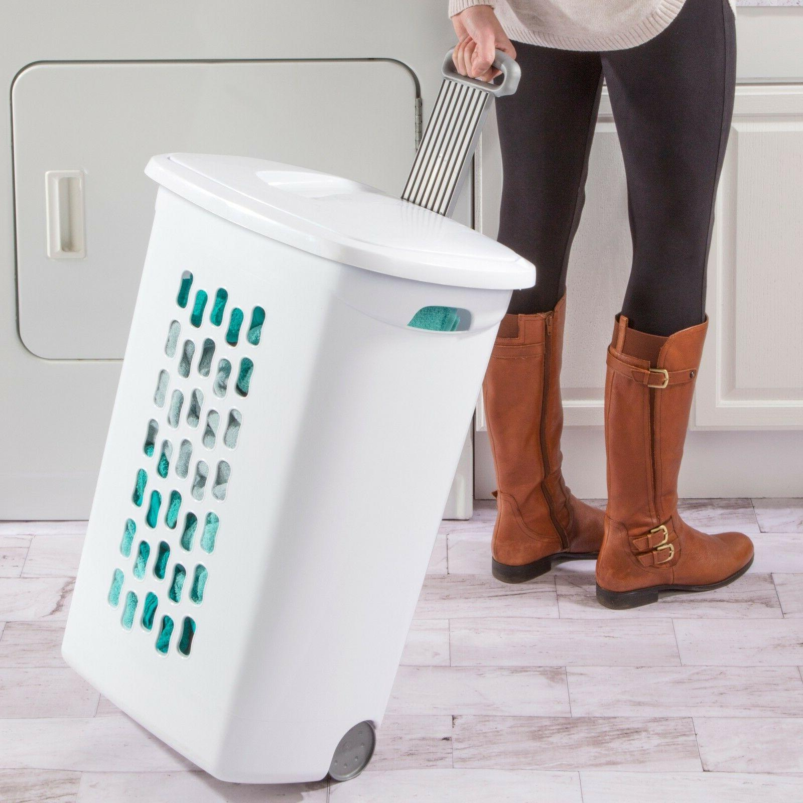 Wheeled Basket Pack Clothes Hamper With