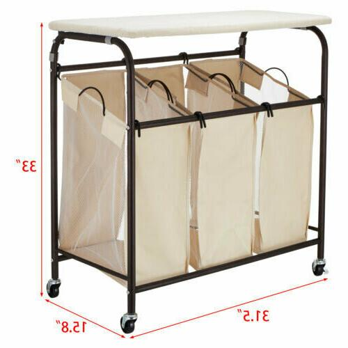 Wheeled Sorter Cart 3-Bag Basket with Ironing Board Casters