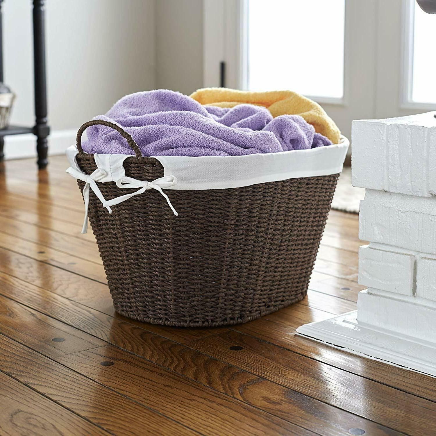 wicker laundry basket small with handles compact