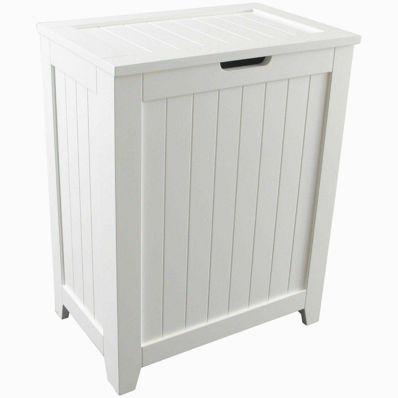 Wooden Laundry Hamper- White Basket Washing Bin Clothes Orga