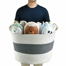 Large Cotton Rope Toy Storage Baskets 22x14 Inch Extra Large