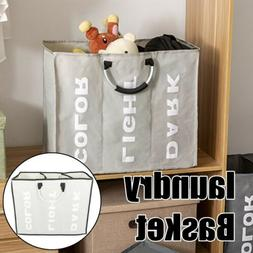 Large Foldable 3 Sections Laundry Basket Bin Hamper Storage