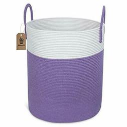 Goodpick Large Woven Laundry Hamper - Tall Cotton Rope Laund