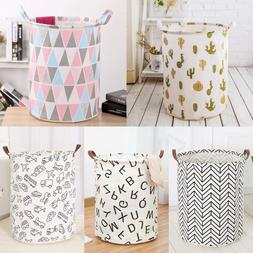 Laundry Basket Bag Foldable Cotton Linen Washing Clothes Ham